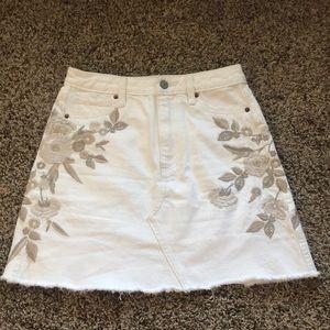 Abercrombie white embroidered denim mini skirt